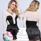 Sexy Clubwear Party  Long Sleeve Sheer Fitted Ruffled Dress Ivory Black HOT ITEM