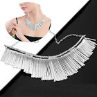 Womens Metal Multilayer Chain Tassels Choker Bib False Collar Necklace  G