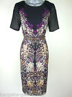 ♥Ex Julien Macdonald Dress Vintage Jewel Print Pencil Shift Black Size 8-20