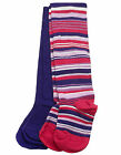Baby Girls Monsoon tights 2 pair pack purple red stripe coloured 6 - 12 months