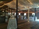 """Set of 2 Ivory Wedding Roof Panels Voile 56"""" wide with 1 pocket on each end."""