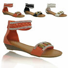 LADIES FLAT SANDALS WOMENS GIRLS ROMAN GLADIATOR DIAMANTE ANKLE STRAP SHOES SIZE