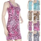 SHINY Leopard Animal Print Sexy Club Sleeveless Tank Scoop Neck Mini Dress S M L