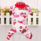 Cotton Pajamas Apparel Pet Dog Soft Bow /Cartoon Printed Clothes Jumpsuit Shirt