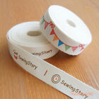 "2 yards: Cut & Sew Labels ""Sewing Story""/ Cotton Ribbon Flag Banner 15mm Craft"