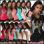 Women's Top Sexy Ladies Summer Sequins Casual V-Neck T-Shirt One Size 8,10,12 UK