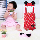 Baby Girl Lovely Sweet Polka Dots All In One jumpsuit 2 Pcs Set Bows Headband