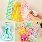 Cute Bowknot Hanging Towel Kitchen Superabsorbent Exquisite Smooth Coral Velvet