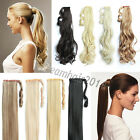 Clip In Ponytail Pony Tail Hair Extension Wrap On Hair Piece Straight Body Wavy