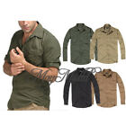 Mens Casual Military Outdoor Tactical Sports Short Long Sleeves Shirts Top Q
