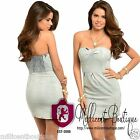 Womens Sexy Retro Strapless Bustier Short Dress Semi Faded Distressed Denim