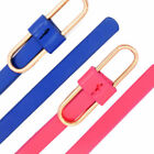 Womens Belt Ladies Faux Leather Glossy Loop Buckle Strap Thin Waist Plus Size