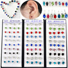 Wholesale Lots 40Pcs Colorful Faceted Round Crystal Silver Ear Stud Earrings HOT