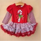 New Girls Christmas Dresses Infant Baby Kid's Long Sleeve Dress Xmas Age0-6Y