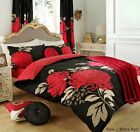 Black & Red Kew Flower Design Duvet Set / Quilt Cover Single / Double / King