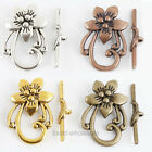 10Sets Zinc Alloy Flower Shape Toggle Clasp Antique Slver/Gold/Bronze/Copper