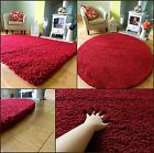SMALL X LARGE SIZE THICK PLAIN RED LUXURIOUS SOFT SHAGGY RUG NON SHED 5cm PILE