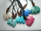 Pink Stone Elephant Surfer Necklace Adjustable Cord & Beads *Seconds* *2nds*