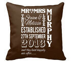 ❤ Personalised Cotton Cushion Ideal Wedding Or Anniversary Gift Mr&mrs Words ❤