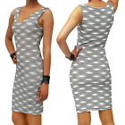 Black White Patterned sleeveless Dress Cocktail Party Bodycon Sexy FREE RETURNS