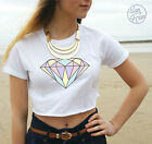 * Diamond Crop Top Fashion Tumblr Dope Fresh Swag Pastel Hipster OOTD Summer *