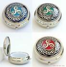 Pill Box Celtic Triskele Triskelion Sea Gems blue green red silver plate BNIB
