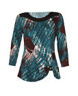 NEW WOMENS TEAL BLUE BROWN ABSTRACT PRINT LADIES 3/4 SLEEVE TOP PLUS SIZE 12-22