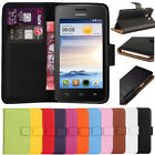 Premium Leather Flip Wallet Case Cover For Huawei Ascend Y330 +Free Screen Guard