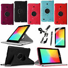"""7IN1 For LG G Pad 7.0"""" V400 Rotating Leather Smart Wake Case Cover Stand +Bundle"""