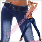 Women's Jeans Sexy Ladies Skinny Dark Blue Trousers with Belt Size 8,10,12,14 UK