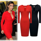 Womens Sexy Celeb Boutique Long Sleeve Cut Out Pencil Bodycon Party Formal Dress
