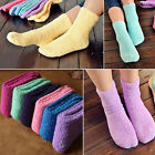 Winter Womens Girls Candy Color Striped Pure Color Thicken Warm Socks Stocking