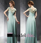 Mint Gold Beaded Chiffon Evening Prom Bridesmaid Ball Wedding Gown Maxi Dress
