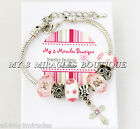CROSS Charm Bracelet Silver PINK WHITE Girls First Communion Teens Confirmation