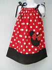 Lovefeme Minnie Mouse Girls Pillowcase Dress Size 1T,2T,3T Red Or Pink  Xmas Gft