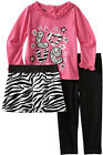 Young Hearts Toddler Girls 3 Piece Pink Shirt Zebra Print Skirt Leggings Set