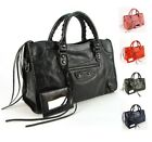 Women Genuine Soft Leather Tote Handbag Punk Rock Motorcycle Shoulder Bag Purse