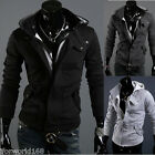 Mens Casual Luxury Buckle Top Designed Jacket Hoodie Slim Sweatshirt Rider Coat