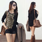 Fashion Womens Lady Long Sleeve Leopard Print T shirts Tops Loose Blouse Black K