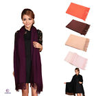 Wool Pashmina Cashmere Women Burgundy Thick scarves Solids Scarf Shawl Wrap New