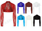 NEW WOMENS LADIES LONG SLEEVE FLORAL LACE  SHRUG CARDIGAN TOP SIZE 8-22