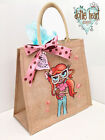 Personalised Jute Bag Hand Painted Dottie Heart XL - Lottie