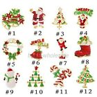 12PCS Mixed  Gold Enamel Rhinestone Christmas Theme X'mas Gift Brooches PinS