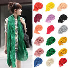 Candy Colors Fashion women Long Big Soft Crinkle Voile Shawl Scarf Wrap Stole