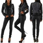Ladies Women's Denim Leather look insert Biker Jacket Black Sizes UK 8 10