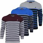 Mens Jumper Kangol 'Guarded' Cotton Knit Stripe Crew Neck Sweater