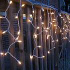 WARM WHITE LED ICICLE LIGHTS OUTDOOR CHRISTMAS XMAS LIGHTING SNOWING DROPS UK