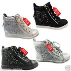NEW LADIES WOMENS DIAMANTE STUD TRAINERS SNEAKERS ANKLE MESH BOOTS PUMPS SHOES