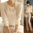 Women Long Sleeve Vintage Sheer Tops Lace Shirt Chiffon Blouse,white Color