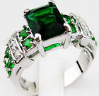 Fashion Rings for man Green Emerald Men 10KT White Gold Filled Size  6/7/8/9/10